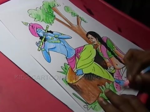 How to Draw Lord Radha krishna Drawing for kids Step By Step