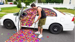 100,000 FEATHERS IN FRIENDS CAR PRANK