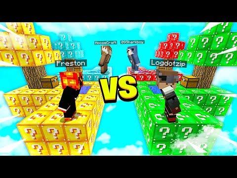 MINECRAFT 1v1v1v1 OVERPOWERED LUCKY BLOCK BATTLE with MooseCraft Minecraft Mods