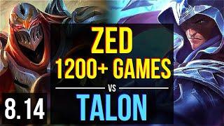 ZED vs TALON (MID) ~ 1200+ games, KDA 11/2/5, Legendary ~ Korea Challenger ~ Patch 8.14