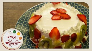 Eggless Mixed Fruit Cake with Cream Icing | Recipe by Archana | Easy To Make At Home