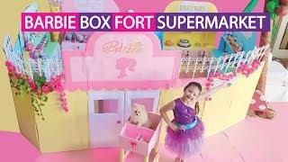 Barbie Supermarket Box Fort Pretend Play
