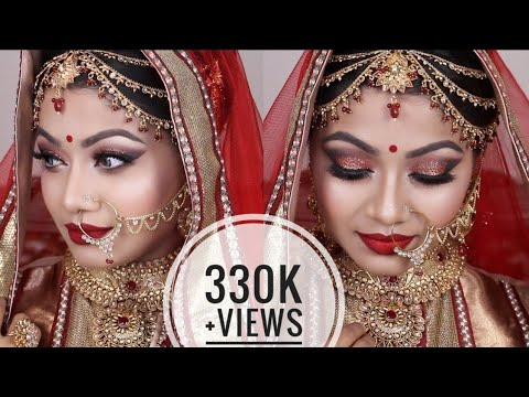 Xxx Mp4 Red Asian Bridal Makeup Tutorial 2017 Gorgeous Glittery Eyes With Red Lips Indian Wedding Makeup 3gp Sex