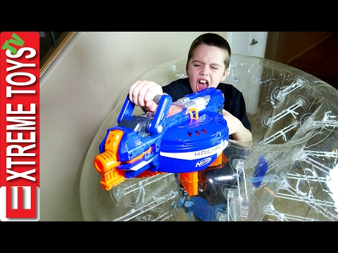 Nerf Gun Fight Ethan Vs Cole Round 3 Nerf Hail Fire and a Giant Inflatable Escape Pod