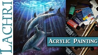 How to paint Dolphins and Rays of Light - Acrylic Painting lesson w/ Lachri