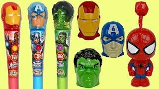 Marvel AVENGERS Candy Dispenser, Lollipop Light Spinner, Spider Iron Man Superhero IRL Toy Surprises