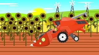 Harvest of sunflowers | Tractor and Combine Harvester McQueen | Zbiory Słoneczników Bajki
