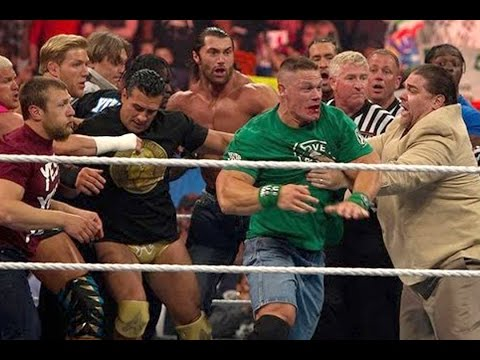 John Cena and Brock Lesnar get into a brawl that clears the entire locker room: Raw, April 9, 2012