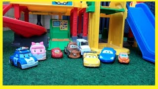 Cars 2 Toys Robocar Poli Toys Cars Kinder film Deutsch Fisher Price Little People Parkhaus