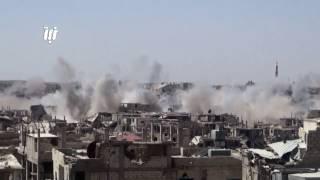 غارة من الطيران الحربي بالصواريخ العنقودية على أحياء درعا البلد