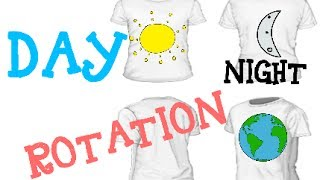 Day, night and the Earths rotation. Science concepts for kids.