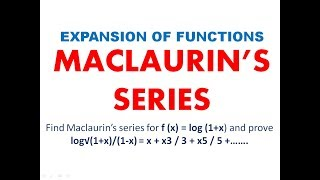 Maclaurin's Series || Expansion of functions ||