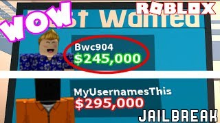 CRAZIEST BOUNTIES IN JAILBREAK! // Roblox Jailbreak Bounty Challenge #2 ft. MyUsernameThis