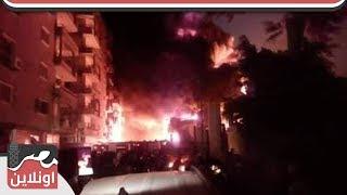 حريق هائل يبتلع شبين الكوم ...  وسيارات الاطفاء تعجز عن السيطرة على الحريق