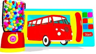 Learn Colors & Microwave Color Bus w Cars Superheroes for Children - Surprise Eggs Colors for Kids