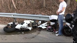 Motorcycle Crash -  Bike Ripped in Half, Lowside Motorcycle Crash Aftermath, Full HD 1080p