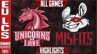 Unicorns of Love vs Misfits Highlights ALL GAMES EU LCS Playoffs Quarterfinal Summer 2017 UOL vs MF