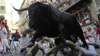 Spain Pamplona Bull Attack