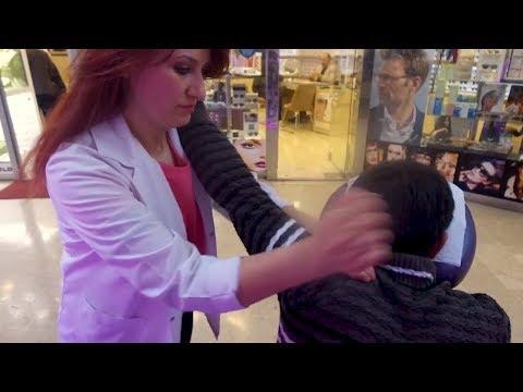 ASMR MASSAGE THERAPHY ON CHAIR (Turkish Women Intense Head & Back Massage)