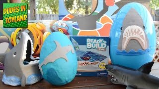 Shark toys HUGE playdough surprise eggs for kids SHARK WEEK with FInding Dory toy surprises