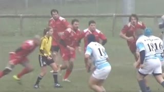 Rugby Player Blindsides  female referee [HD]
