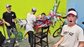 HUMAN DUCT TAPE CHALLENGE VS WALL!