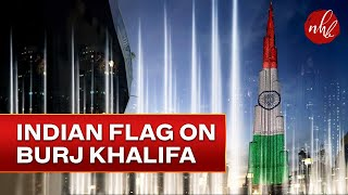 Indian Flag on Burj Khalifa & Dubai  Water Show