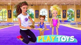 Barbie Doll Gymnastics Lesson! Play Barbie Baby Dolls morning routine 4 FOOTBALL, Soccer, Ballet!