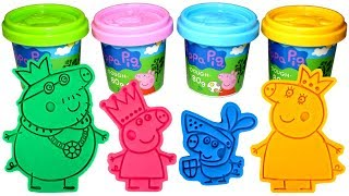 Peppa Pig Royal Family Molds and Play Doh with Princess Peppa Daddy King Mummy Queen Sir George Toys