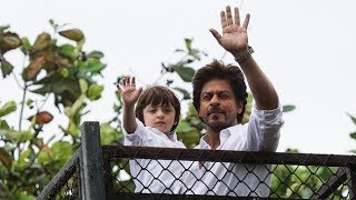 Shah Rukh Khan greets fans on Eid with AbRam outside Mannat