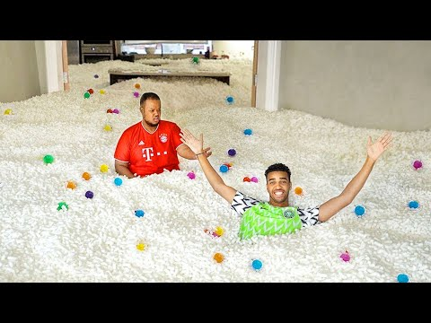 FILLING My ENTIRE HOUSE With PACKING PEANUTS PRANK