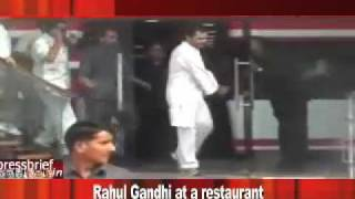 Rahul Gandhi visits a restaurant in Lucknow