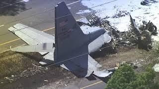 Savannah plane crash aftermath as seen from the sky