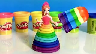 Learn Colors of Rainbow with Bathtub Fingerpaint and Play Doh Scoops