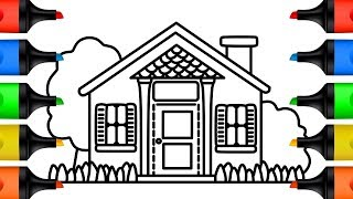 How to Draw Doll House Drawing and Coloring Pages for Kids Step by Step Learn Colors for Children