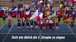 WTF is wrong with him? :D german hymn fail by USA