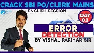 SBI PO/CLERK  ERROR DETECTION FOR SBI PO/CLERK MAINS  DAY 1  Vishal  sir