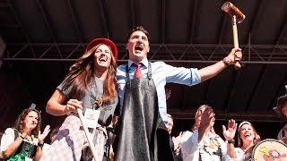 Trudeau taps the keg at K-W Oktoberfest