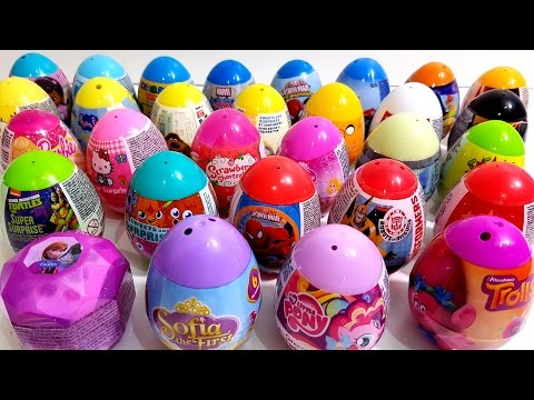 Learn Colors with Many Surprise Eggs Trolls Barbie Super Mario Peppa Pig Spiderman