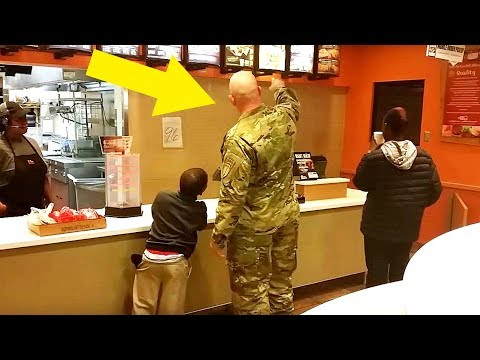 This Soldier Goes To Order Taco Bell Meal Stops Cold When He Hears 2 Boys Behind Him