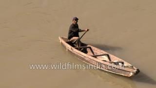 Nagamese boatman rows his boat on Doyang river in Nagaland