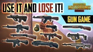 USE EACH GUN ONLY ONCE! PUBG MOBILE GUN GAME CHALLENGE