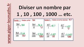 Comment diviser un nombre par 1 , 10 , 100 , 1000 ... etc | Math 6ème