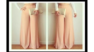 HOW TO MAKE FALERD PALAZZO PANT WITH SIDE ZIP (DIY)