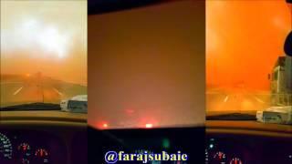 عاصفة على طريق القصيم الرياض عند ام سدره الاحد  20 / 6 / 1438 هـ