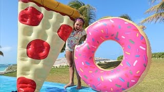 GIANT DONUT VS GIANT PIZZA! Pool Party Toy Challenge - Shopkins Surprise Eggs - Toy Opening