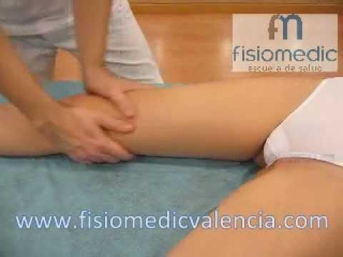 Masaje manual. Miembro inferior pie pierna rodilla muslo. fisiomedicvalencia