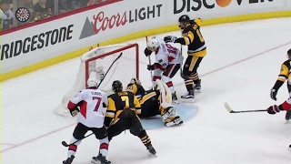 Dzingel ties Game 7 after puck goes off post and bounces right to him