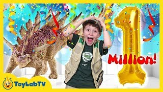 Giant 1 Million Subscribers Celebration & Toy Hunt for Dinosaur Surprise Toys from ToyLabTV