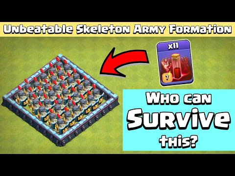 Skeleton ARMY Formation 11 Max Skeleton Spell Vs All Troops Clash of Clans